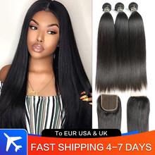 Black Pearl Straight Bundles With Closure Remy 30 inch Human Hair 3 Bundles With Closure Peruvian Hair Bundles With Closure