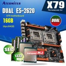 Atermiter X79 Dual Cpu Moederbord Set Combo 2 × Xeon E5 2620 4 × 4Gb = 16Gb 1333mhz PC3 10600 DDR3 Ecc Reg Geheugen