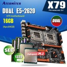 Atermiter x79 conjunto duplo da placa mãe da cpu combos 2 × xeon e5 2620 4 × 4gb = 16gb 1333 memória ecc reg pc3 10600 ddr3, mhz
