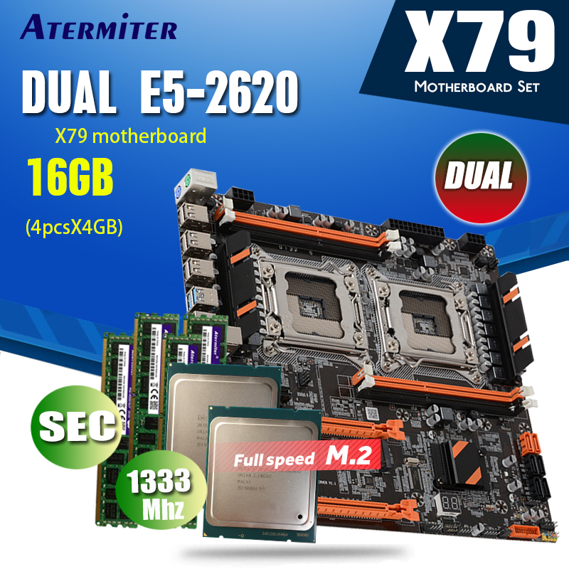 atermiter X79 Dual CPU motherboard set combos 2 × Xeon E5 2620 4 × 4GB = 16GB 1333MHz PC3 10600 DDR3 ECC REG memoryMotherboards   -