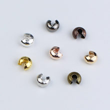 100pcs/lot Dia 3mm 4mm 5mm Copper Round Covers Crimp End Beads Stopper Spacer Beads for DIY Jewelry Making Supplies Findings