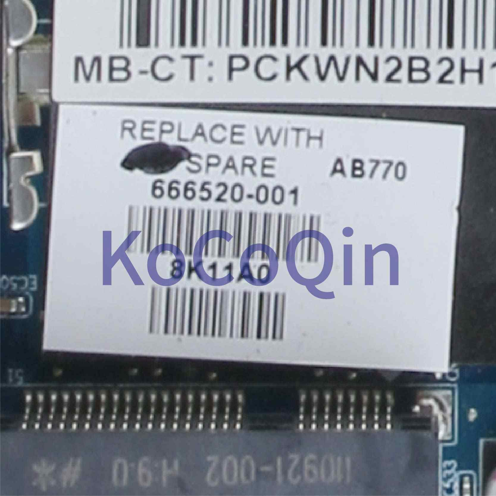 KoCoQin เมนบอร์ดแล็ปท็อปสำหรับ HP Pavilion DV7 DV7-6000 DV7Z-6100 A70M HD6750 Mainboard 666520-001 666520-501 216- 0810005