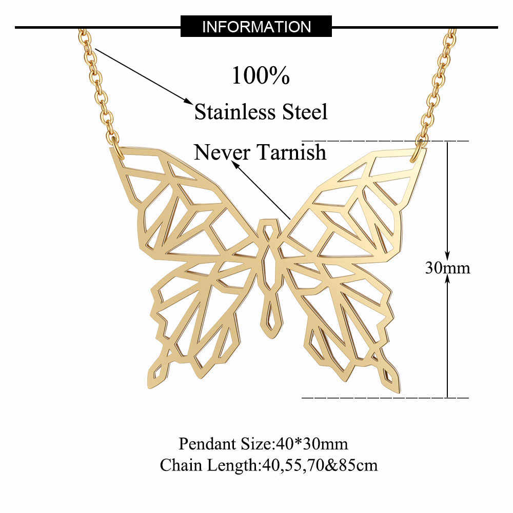 100% Real Stainless Steel 40cm Butterfly Long Necklace Trend Jewelry Necklaces Unique Animal Jewelry Necklace Special Gift