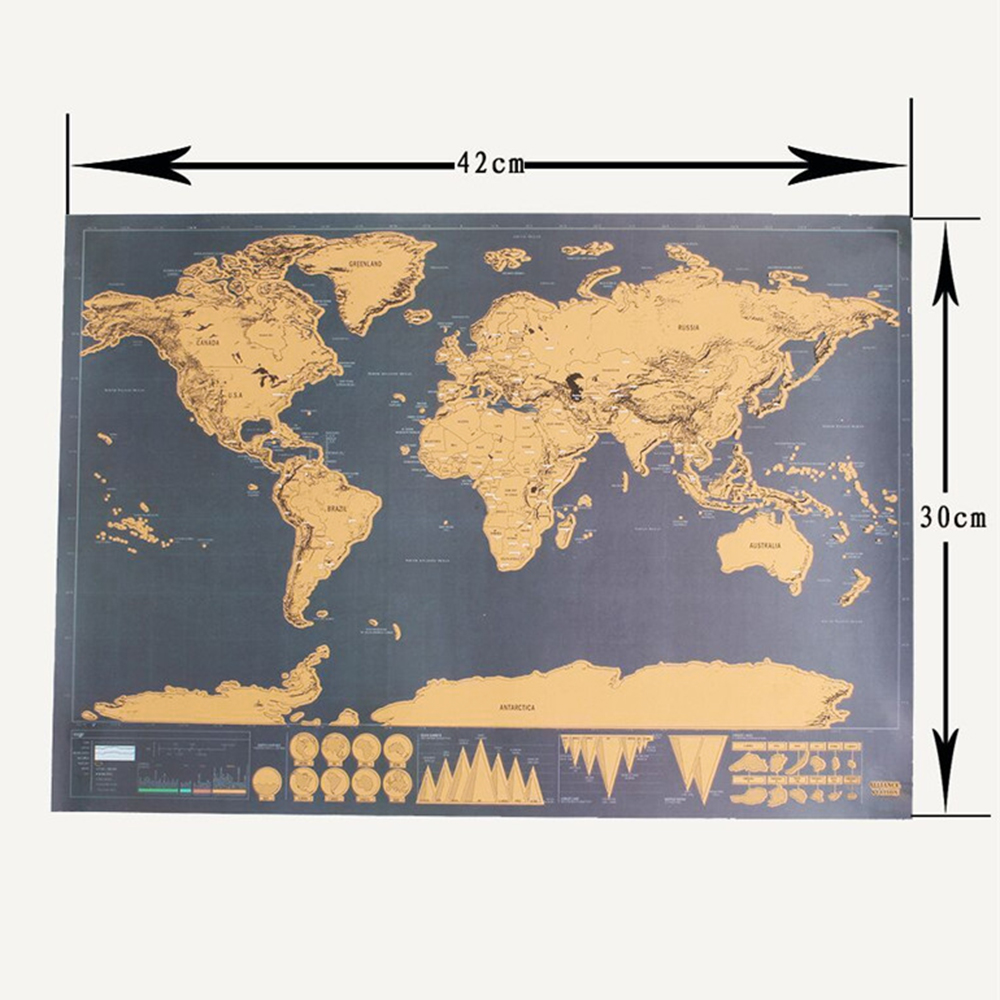 Scratch Off Journal Retro World Globe Map Personalized Atlas Poster With Country Flag Decoration For Office School 42*30 CM