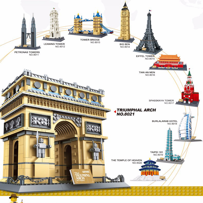 Lepining City 2019 Famous Architecture Wange Taj Mahal London Paris Town Bridge Model Building Blocks Children Bricks Toys image