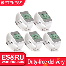 5pcs Retekess TD108 Wireless Calling System Restaurant Pager Waiter Call Multi-Language Wireless Watch Receiver For Cafe Factory
