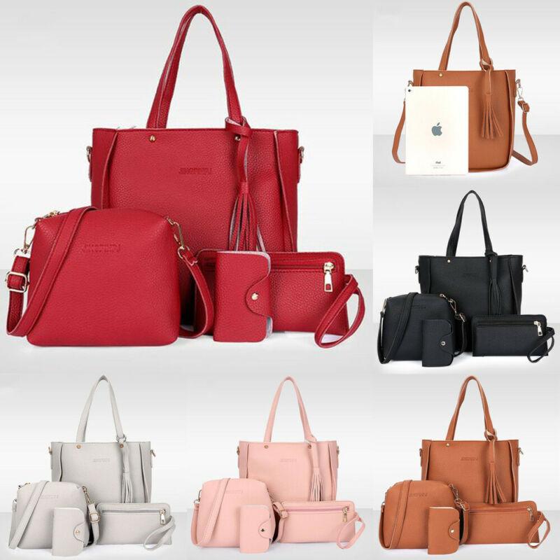 4PCS/Set Women Lady Leather Composite Bag Fashion Casual Shoulder Bag Handbag Satchel Clutch Bag Coin Purse