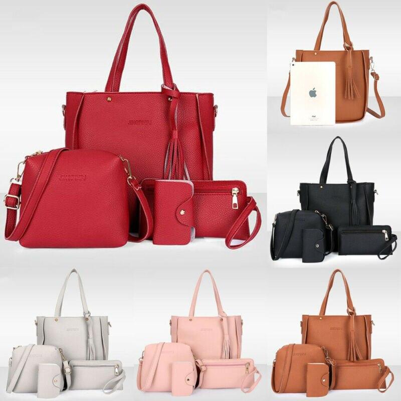 4PCS/Set Women Lady Leather Composite Bag Fashion Casual Shoulder Bag Handbag Satchel Clutch Coin Purse