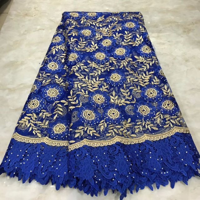 Blue  African  Veritable Tulle Lace With Stones Fabric Floral Embroidery  African Nigerian High Quality Sewing Lace Dress Cloth
