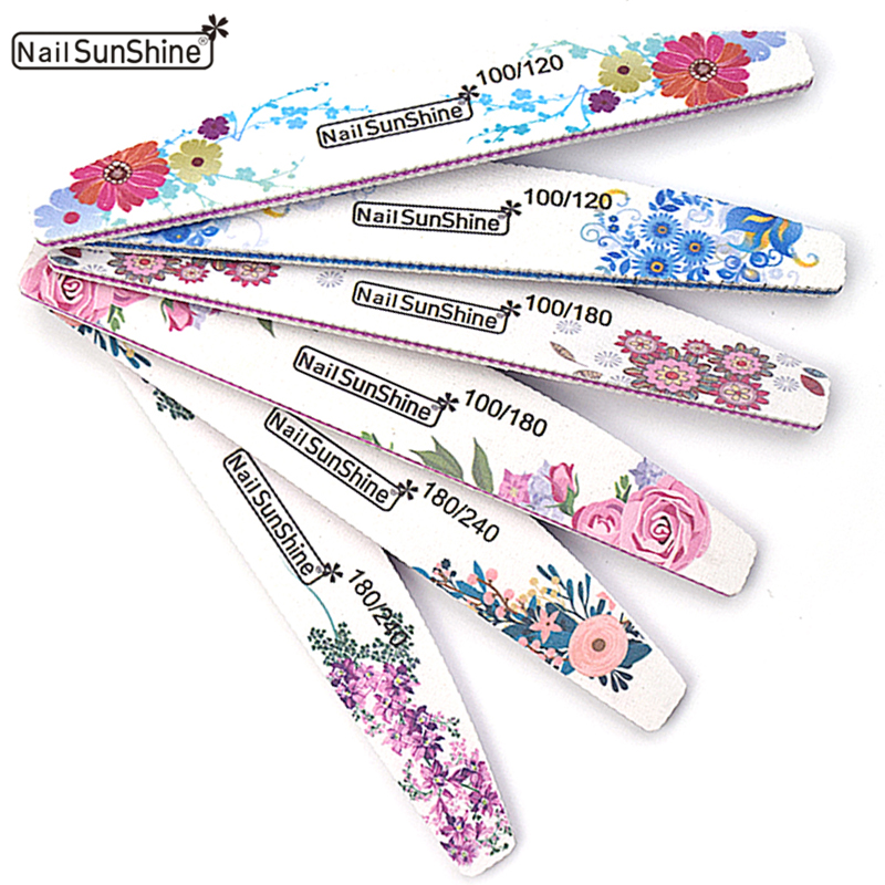 New Nail File Buffer Double Side 6pcs 100/120/180/240 Lime Buffer Mix Nail Art Ongle Half Moon Washable UV Gel Nails Polishing