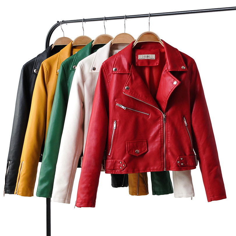 Taotrees Autumn Solid Color Lapel Five Color Women PU   Leather   Motorcycle Jacket