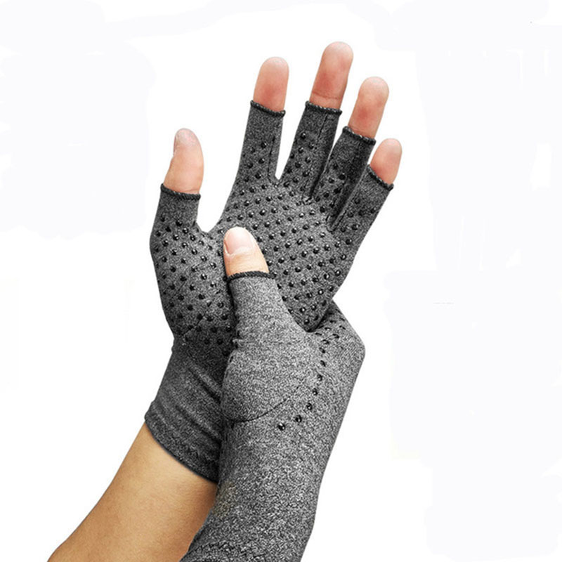Half Finger Cycling Gloves Arthritis Pressure Health Gloves ash High Elastic Breathable Anti-edema Rehabilitation Riding Gloves