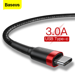 Baseus Type C Cable for Samsung S20 Quick Charge 3.0 Cable USB C Fast Charging for Huawei P40 Xiaomi Mi 10 8 USB-C Charger Wire