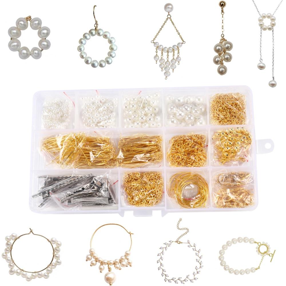 1200pcs Pearl Bead Jewelry Making Supplies Kit Popular Jewlery Making DIY Earrings Necklace Bracelect Hairpin Making Kit Jewelry