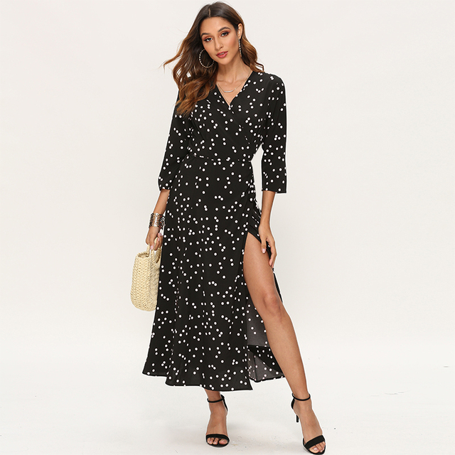 Women Polka Dot Long Dress Boho Sexy V Neck Split Maxi Party Dress Elegant Three Quarter Sleeve Casual Bandage Wrap Dresses 2