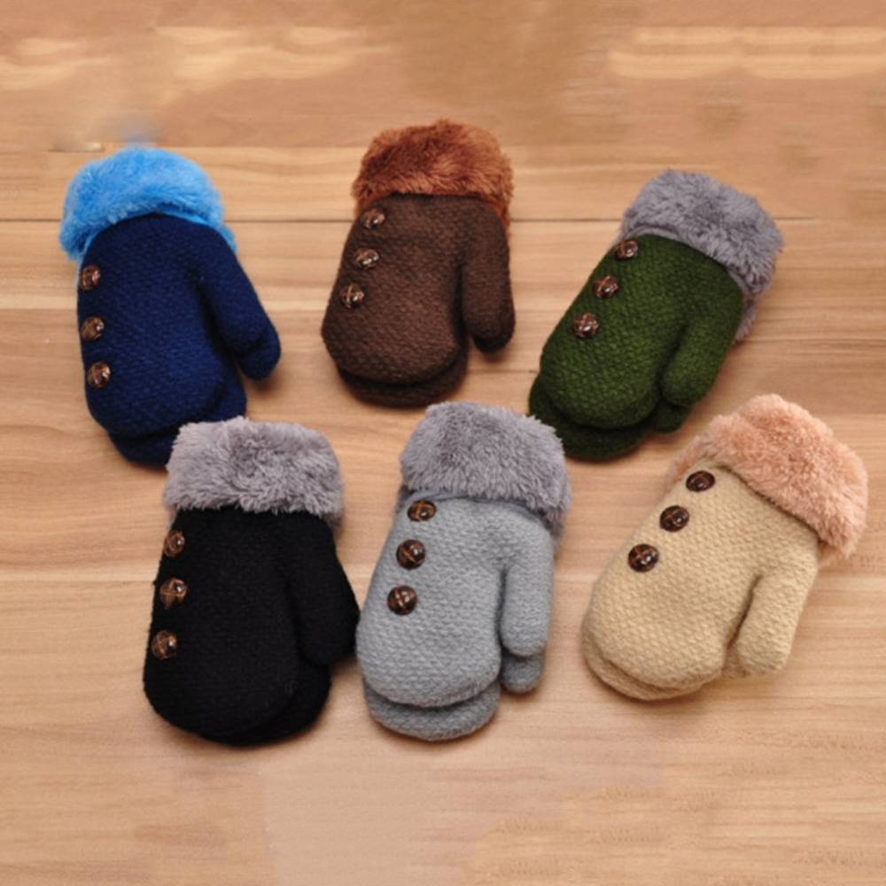 2018 Winter Warm Children Kids Mitten Gloves Knitted Fabric Double Thickened All Cover Fingers Kids Gloves For Boys And Girls
