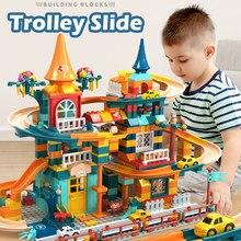 303-512 pces corrida de mármore executar blocos de construção de tamanho pequeno parque de diversões slide blocos diy amigos casa tijolos brinquedos para o presente das crianças