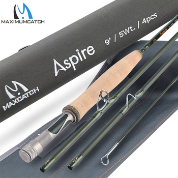 цена на Maximumcatch Aspire Fly Fishing Rod 40T Carbon Fiber Fast Action Fly Rod With Cordura Tube 5/6/8 WT Fly Rod