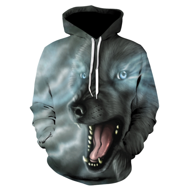 Animal print Wolf top, men's long sleeve fall casual sports hoodie, both men and women can choose from 28 styles 1