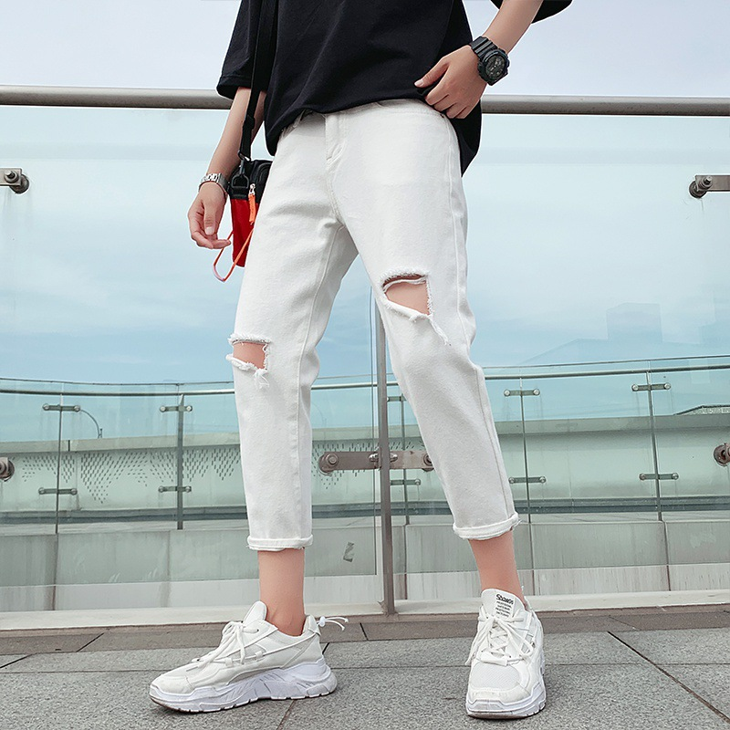Summer Pendant Sense Wide-Leg Beggar With Holes Capri Jeans Men's Popular Brand Loose Straight Korean-style Trend 9 Points Thin
