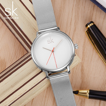 SHENGKE Top Brand SK Creative Minimalist Women's Watches Fashion Watch for Women Full Steel Ladies Clock Reloj Mujer image