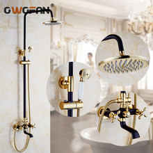 Shower Faucets Bathroom Cabin Showerhead Top Spray Raining Faucet Brass Shower Sets Gold Home Decoration The Mixer Crane OYD008R shower faucets bathroom cabin showerhead top spray raining faucet brass shower sets gold home decoration the mixer crane oyd008r