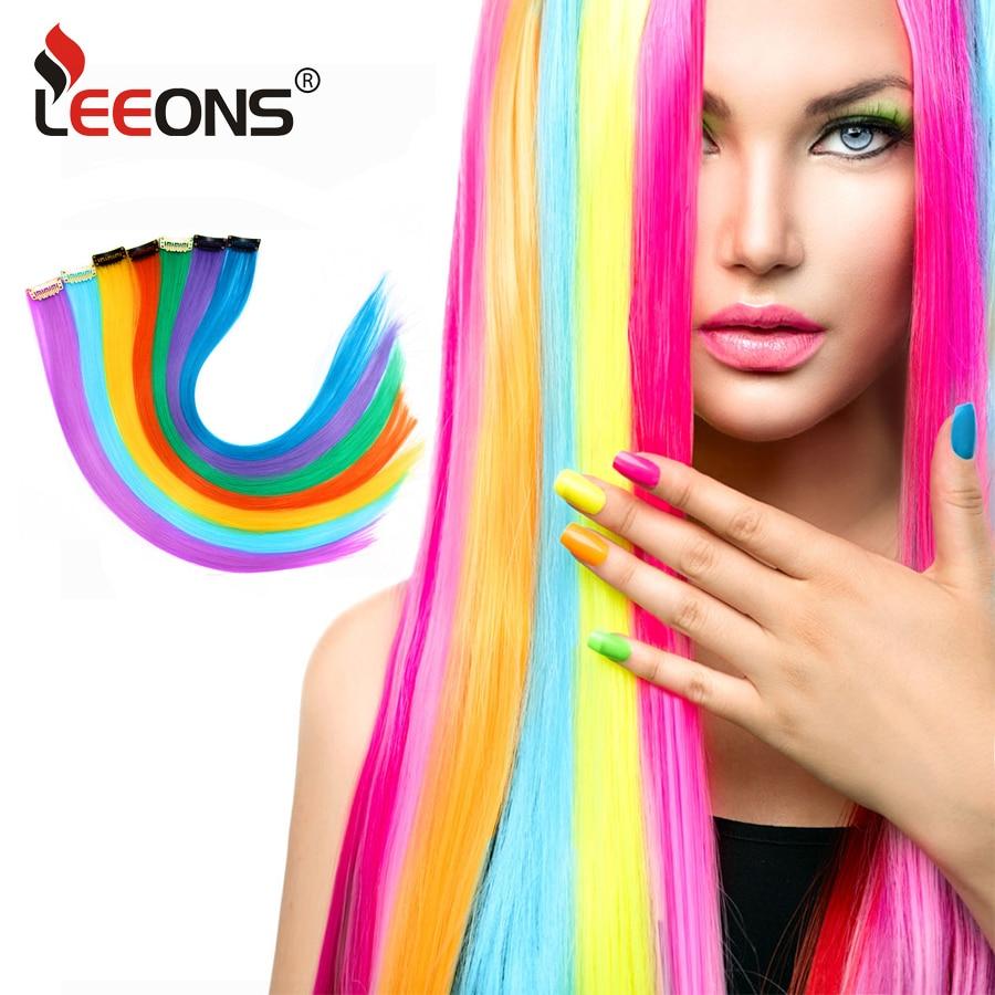 Extensiones de Cabello sintético Leeons con Clip, extensiones de cabello resistentes al calor, cabello arcoíris para niños y mujeres, estilo ondulado de 20 pulgadas
