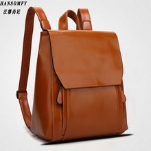 100% Genuine leather Women backpack 2019 New Cow Leather Women Backpack Mochila Feminina School Bags for Teenagers(China)