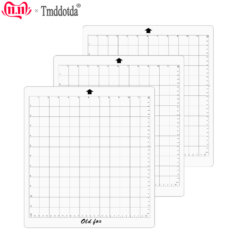 3PCS Replacement Cutting Board Mat Transparent Adhesive Mat Pad With Measuring Grid 12inch For Silhouette Cameo Plotter Machine