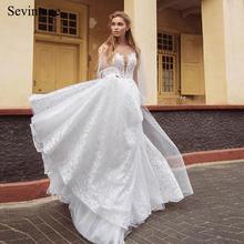 Sevintage пляжные Прозрачные Свадебные платья boho пышные кружевные