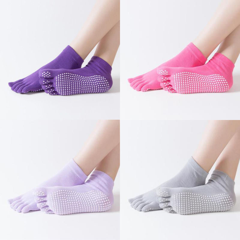 Women Sports Yoga Socks Anti-slip Five Fingers Silicone Non-slip 5 Toe Socks Ballet Gym Fitness Sports Cotton Socks