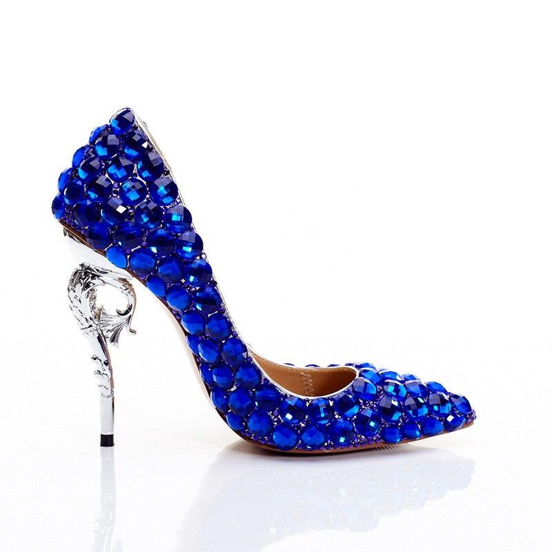 Womens Luxury Rhinestones Diamonds Crystal Pointed Toe High Wedding Stilettos Seahorse Heel Pumps Low Top Pumps Plus Size C773
