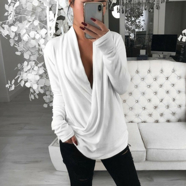 Women Sexy Casual Loose Deep V Neck Long Sleeve Pleated Wrap Top Shirt Tunic Autumn Warm Winter Blouse Female Blusas Hot(China)