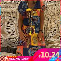 ZANZEA femmes été à manches courtes coton Robe en lin Vestido Robe caftan Femme Vintage col en V imprimé fleuri Robe de soirée 5XL