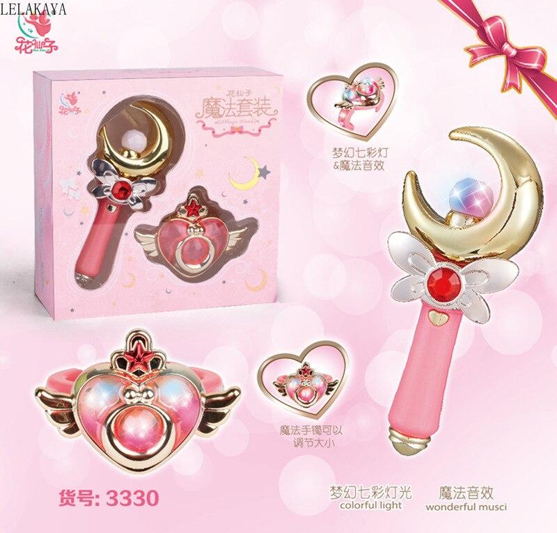Anime Sailor Moon Card Captor Sakura Action Figure Children Magic Wand Stick Glow Fairy Colorful Light Rod Music Toys With Box