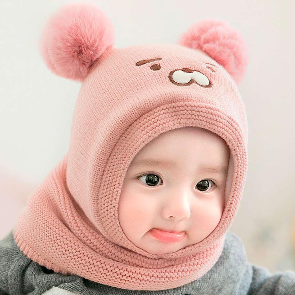 Girls Toddler Spring Autumn Cotton Elastic Hat Beanie Cap Scarf Set 12-18 mths