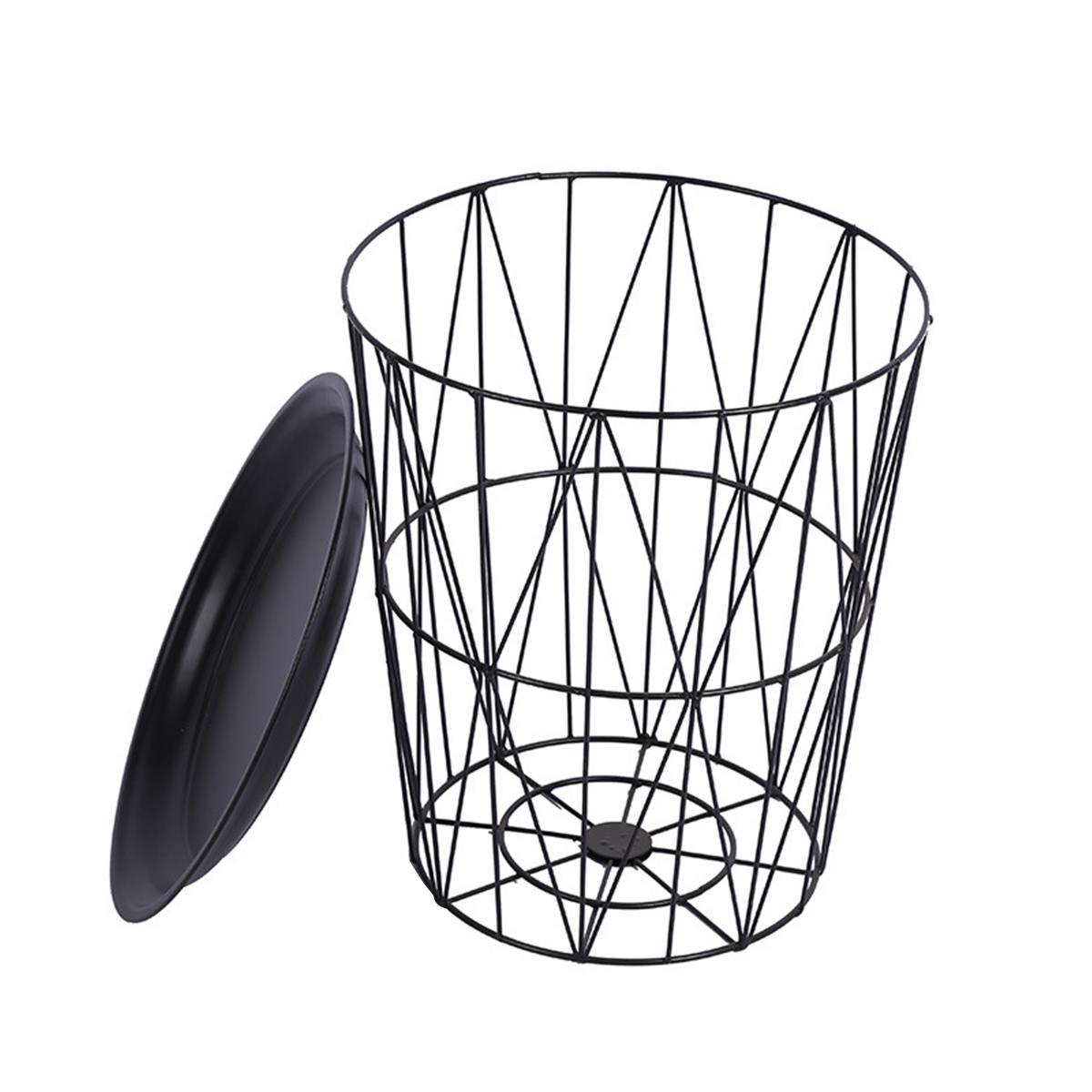 Nordique noir fer métal Table basse sale panier de rangement thé fruits Snack Service plaque plateau lit salon canapé côté S/M/L