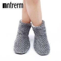 Mntrerm 2019 Inverno Mulheres Chinelos Sapatos Piso Interior Chinelos Em Casa Chinelos de Algodão dos homens Novos Quentes Para homens Grandes Sapatos de tamanho