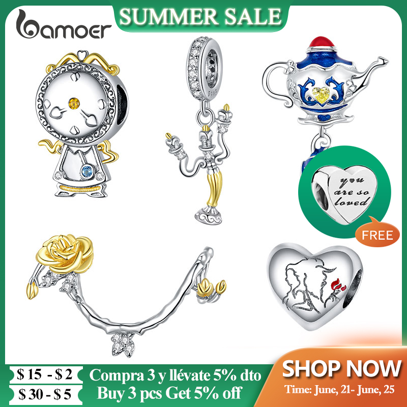 bamoer Genuine 925 Sterling Silver Magic Can Colock Pendant Charm fit Original Bracelet and Necklace Fine Jewelry BSC319