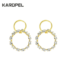 Shiny Double Circle CZ Zircon Silver Earrings Fashion Micro Pave Round For Women Jewelry Gift