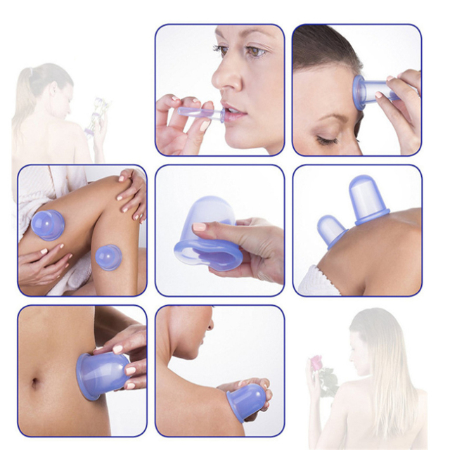 5pcs/Set Silicone Anti Cellulite Cup Vacuum Massage Cups Body Pain Relief Massage Roller Manual Suction Cups Cupping Therapy Kit 4