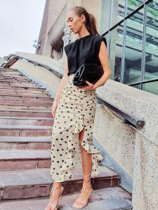 OOTN Ruffle Skirt Split Polka-Dot Khaki High-Waist Asymmetry Women Summer Ladies Holiday