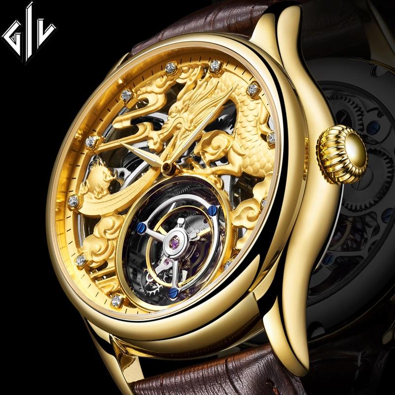 GIV Real Original Tourbillon Dragon Mechanical Watch Hand Wind Top Brand Luxury Watch Men Waterproof Sapphire Relogio