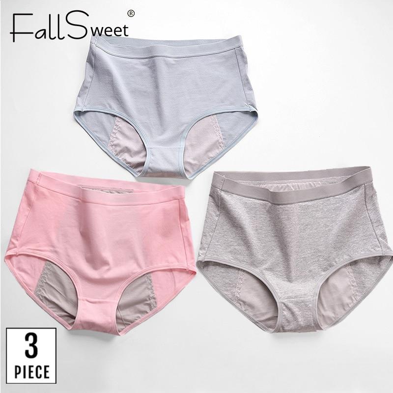 FallSweet 3 pièces/paquet! Grande taille période culotte étanche sous-vêtements menstruels femmes coton physiologique slips taille haute culotte