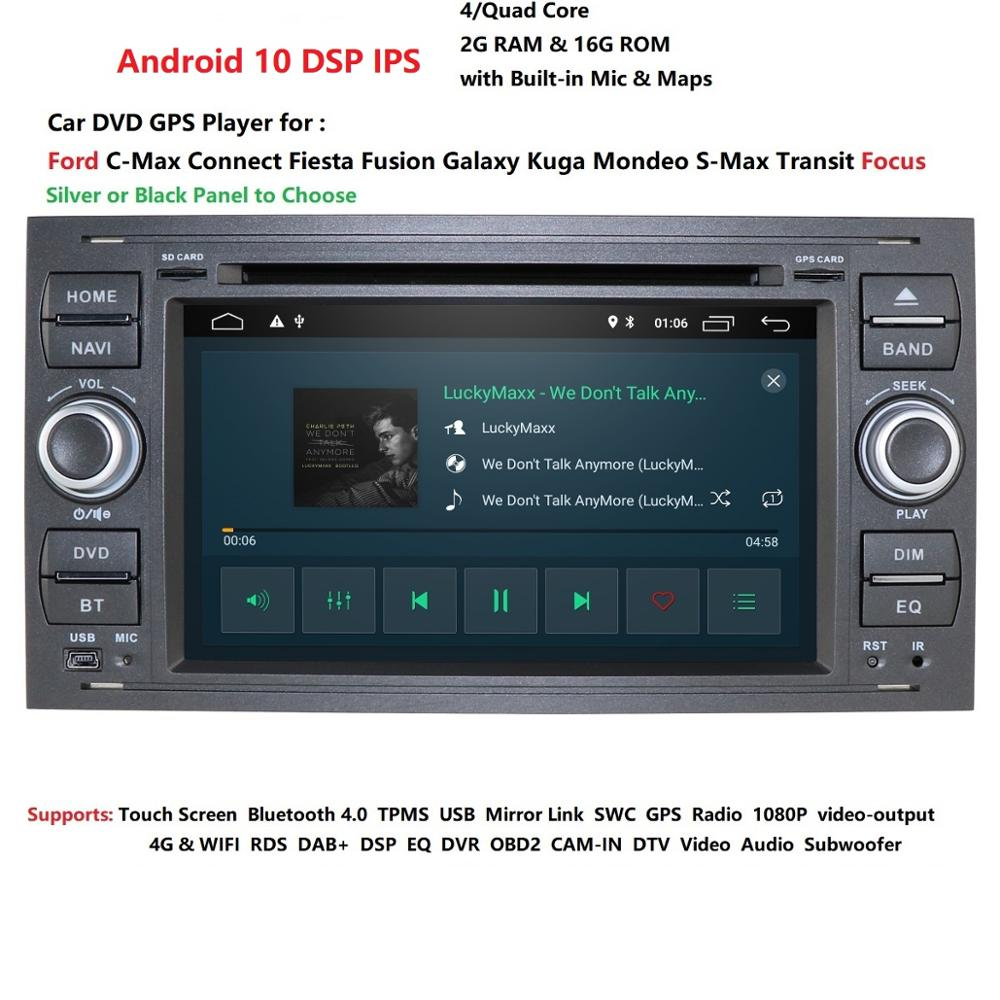 IPS 2 din Android 10 4G Car DVD <font><b>GPS</b></font> For <font><b>Ford</b></font> Mondeo S-max Focus C-MAX Galaxy Fiesta <font><b>transit</b></font> Fusion Connect kuga DVD PLAYER SWC image