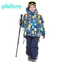 Phibee combinaison de Ski bébé garçon vêtements chaud imperméable coupe-vent Snowboard ensembles veste d'hiver enfants vêtements enfants vêtements