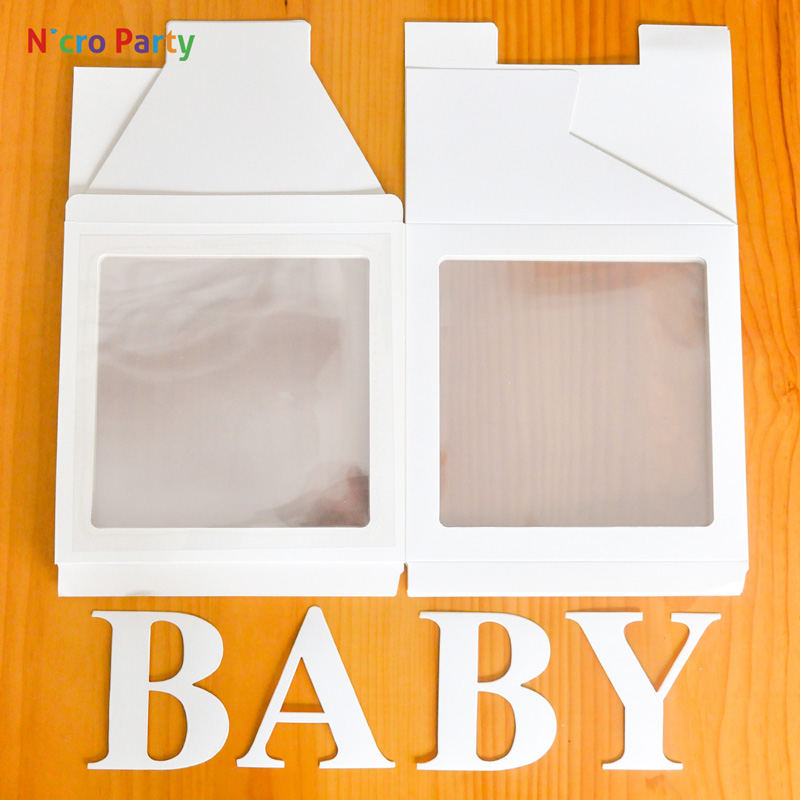 wedding : Nicro Alphabet Transparent White Pink Box Packing Name Balloon DIY Letter Box Baby Shower LOVE Wedding Birthday Party Decor