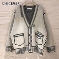 CHICEVER Beiläufige Lose Pullover Für Frauen V-ausschnitt Langarm Plus Größe Elegante Strickjacken Weibliche Mode Kleidung 2020 Stil