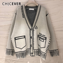 CHICEVER Casual Loose Sweaters For Women Print V Neck Long Sleeve Plus Size Elegant Cardigans Female Fashion Clothing 2020 Style