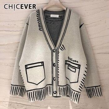 CHICEVER-jerséis holgados informales para mujer, cárdigans elegantes y manga larga con estampado de cuello de pico de talla grande, ropa de moda para mujer, estilo 2020
